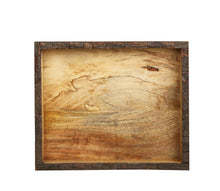 Load image into Gallery viewer, Crayton Rough Edge Border Mango Wood Medium Serving Tray