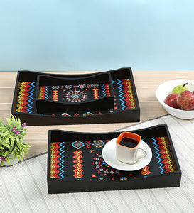 Crayton Geometric MDF Rectangular Serving Tray Set