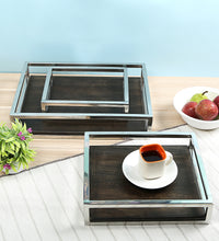 Load image into Gallery viewer, Crayton Steel Border Acacia Wood Serving Tray Set of 3 (Small, Medium, Large)