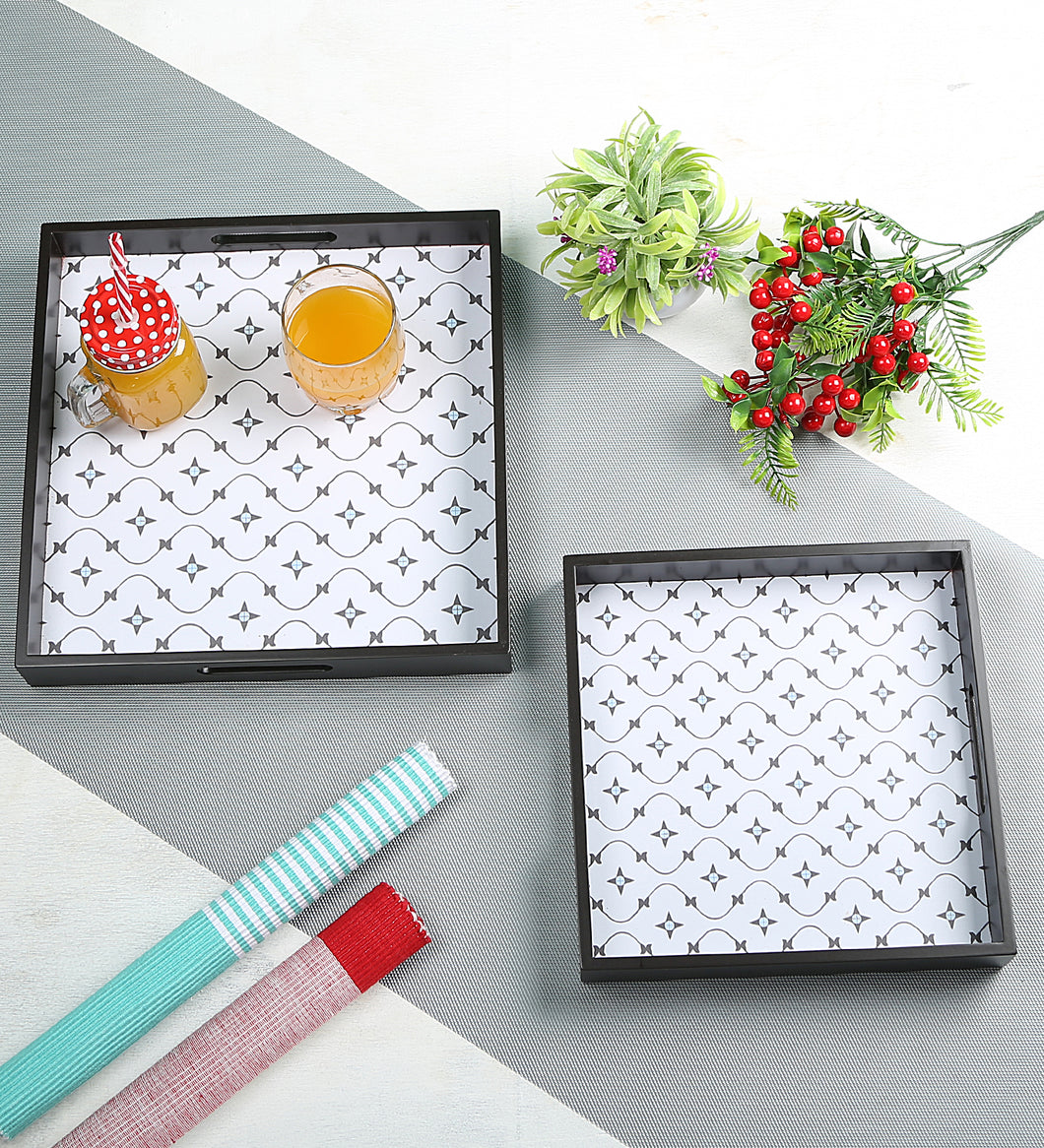 Crayton Star MDF Square Serving Tray Set of 2