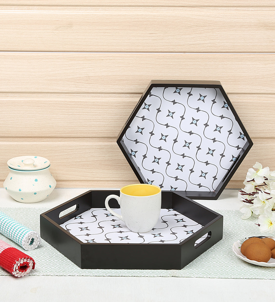 Crayton Star MDF Hexagon Serving Tray Set of 2