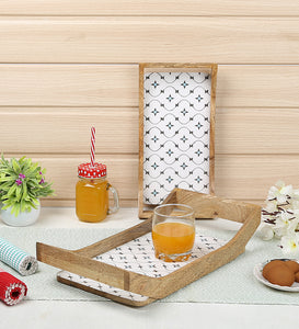 Crayton Star Rectangular Mango Wood Serving Tray of 2 (Small, Large)