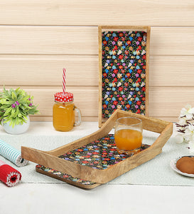 Crayton Geometric Rectangular Mango Wood Serving Tray of 2 (Small, Large)