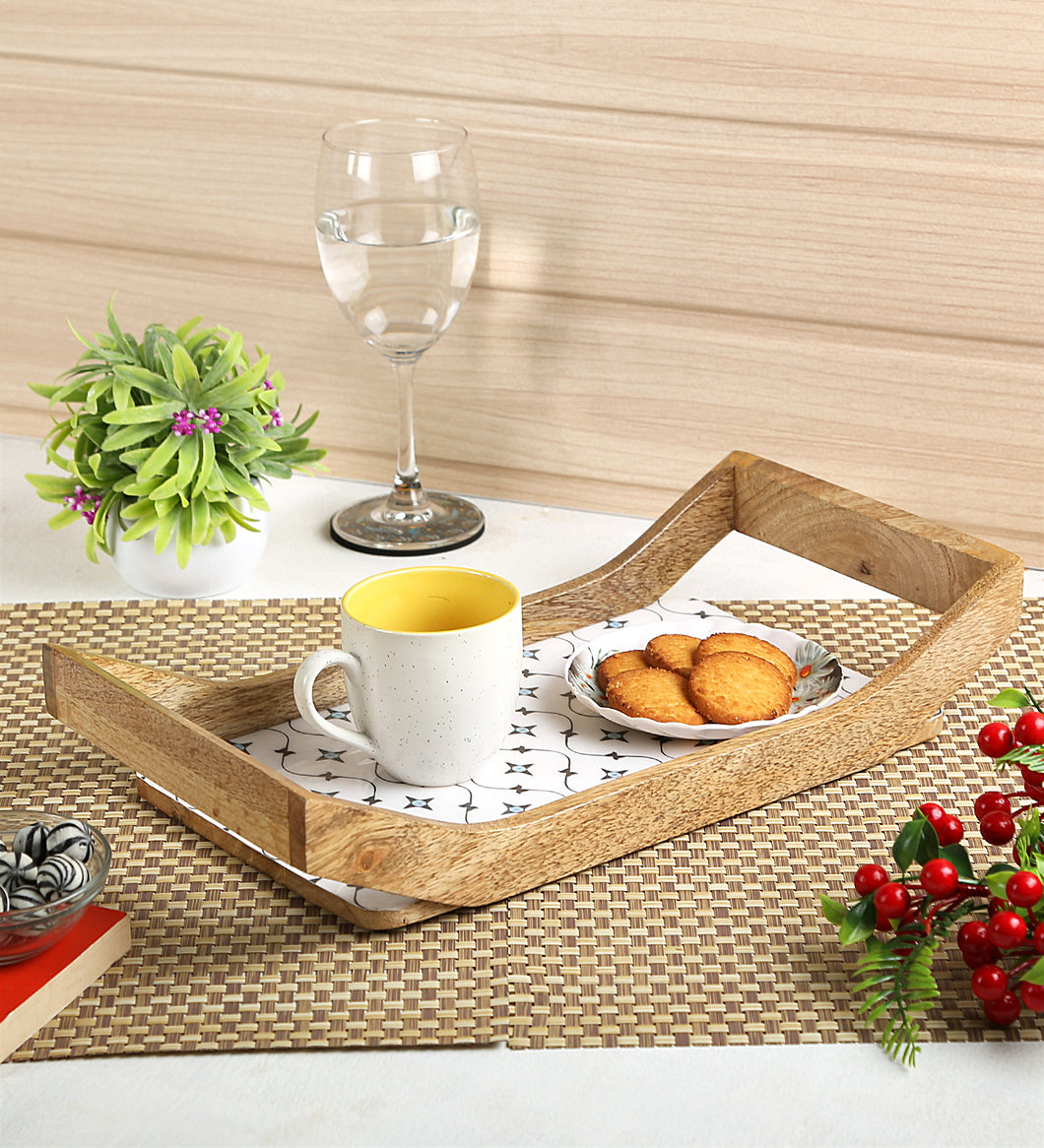 Crayton Star Rectangular Mango Wood Large Serving Tray