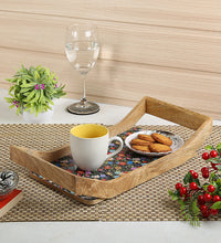 Load image into Gallery viewer, Crayton Floral Rectangular Mango Wood Large Serving Tray