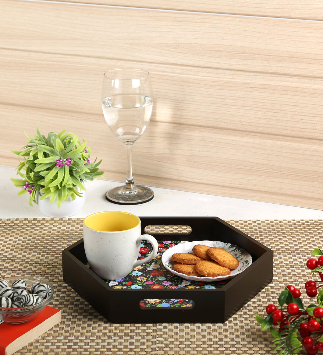 Crayton Floral MDF Small Hexagon Serving Tray