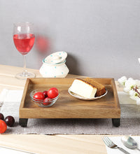 Load image into Gallery viewer, Crayton Mango Wood Medium Serving Tray with Bottom Metal Handle
