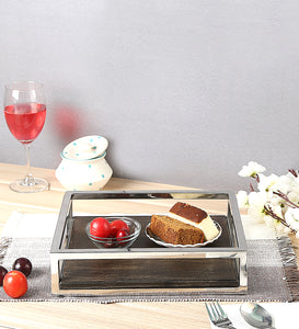 Crayton Steel Border Acacia Wood Medium Serving Tray