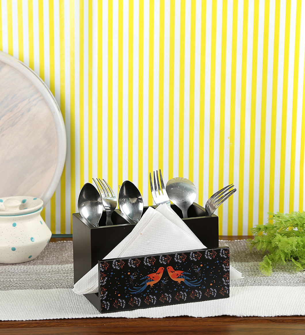 Crayton Birds MDF Tissue + Cutlery Holder