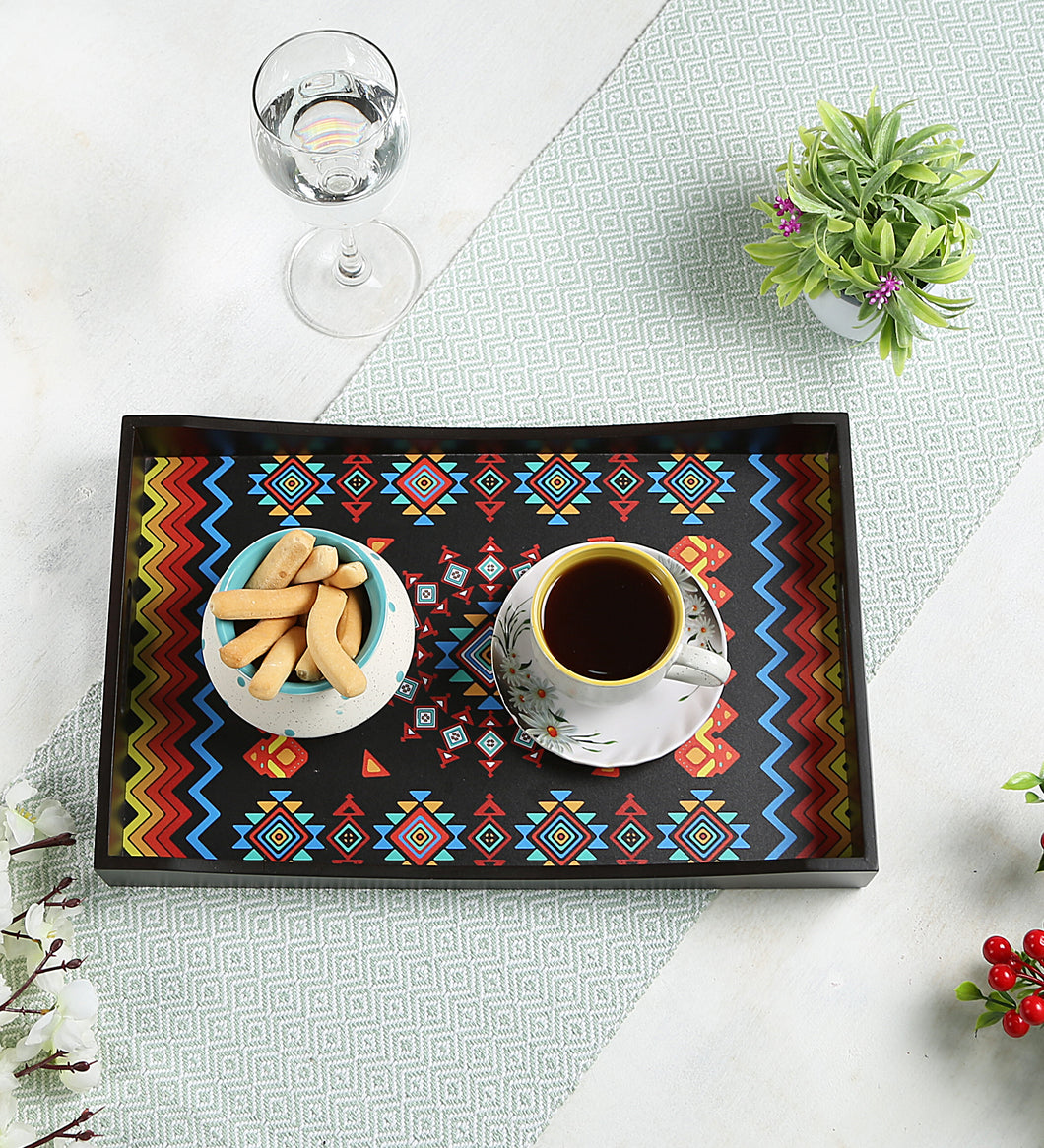 Crayton Geometric MDF Large Rectangular Serving Tray
