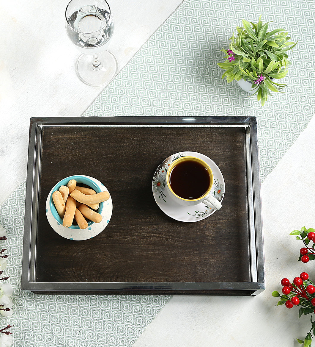 Crayton Steel Border Acacia Wood Large Serving Tray