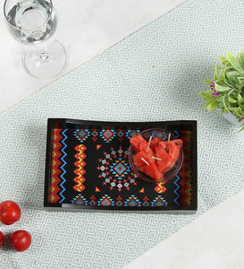 Crayton Geometric MDF Small Rectangular Serving Tray