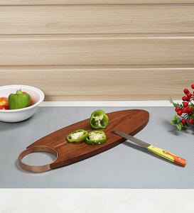 Crayton Side Metal Handle Chopping Board in Mango Wood