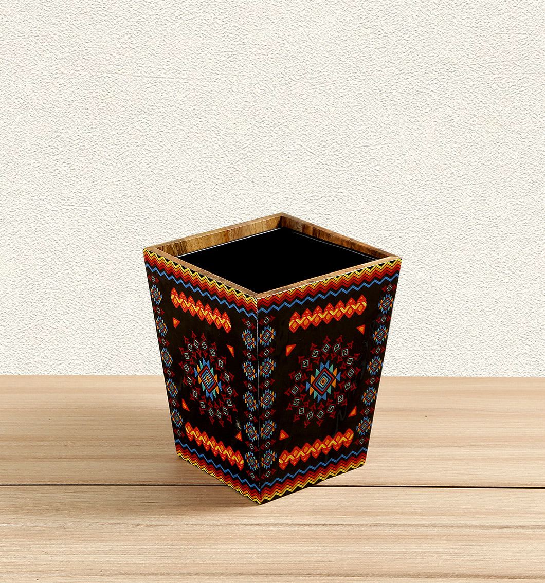 Crayton Geometric Mango Wood Dustbin with Metal Inner