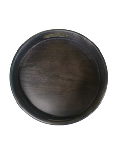Crayton Elegant Black Mango Wood Round Serving Tray
