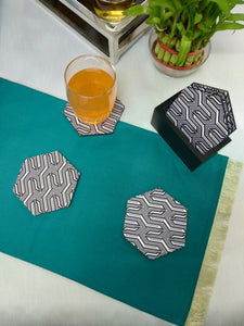 Crayton Hexagon B&W Pattern MDF Coaster