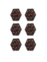 Load image into Gallery viewer, Crayton Hexagon Black Floral MDF Coaster