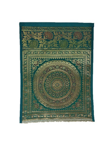 Crayton Green Mandala Multi Purpose Silk Wall Hanging Magazine Organiser (Single Pocket)