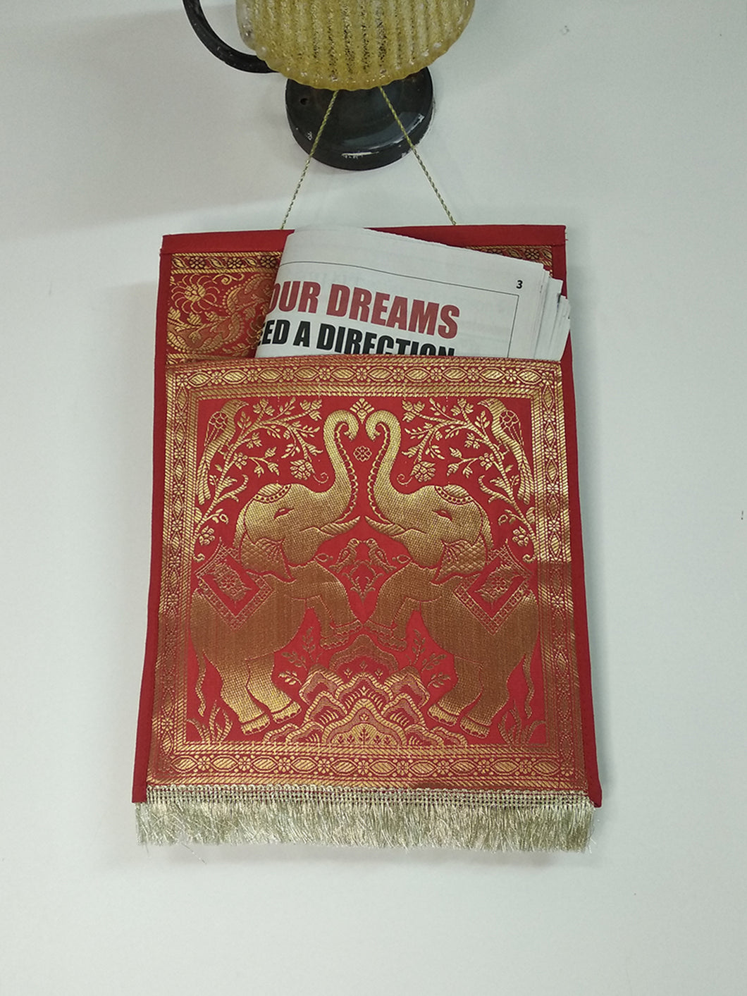 Crayton Red Elephant Multi Purpose Silk Wall Hanging  Magazine Organiser (Single Pocket)