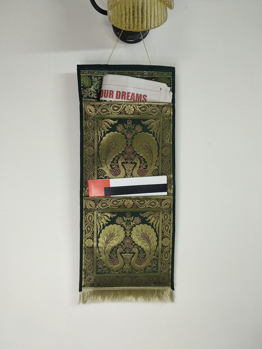 Crayton Green Peacock Multi Purpose Silk Wall Hanging Magazine Organiser (2 pockets)