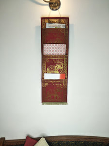 Crayton Red Elephant Multi Purpose Silk Wall Hanging Magazine Organiser (3 pockets)
