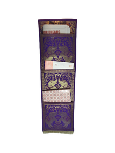 Crayton Purple Elephant Multi Purpose Silk Wall Hanging Magazine Organiser (3 pockets)
