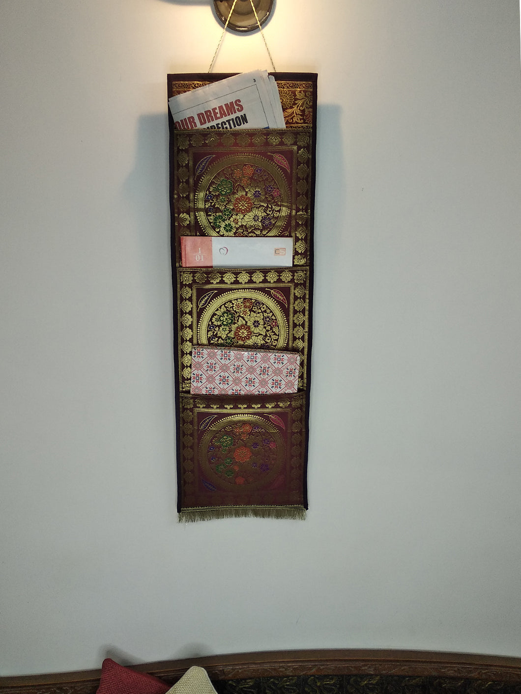 Crayton Maroon Flower Mandala Multi Purpose Silk Wall Hanging Magazine Organiser (3 pockets)