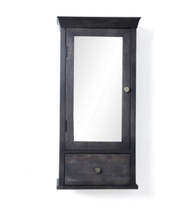 Crayton Mango wood Black Finish 3 Compartment with Mirror Door and Drawer Bathroom Cabinet