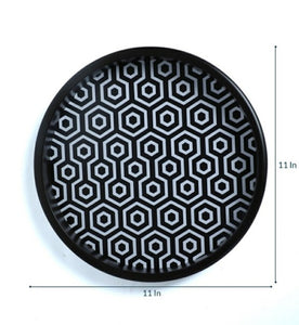 Crayton Black & White Round MDF Wall Hanging
