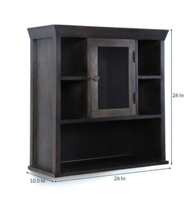 Crayton Mango wood Black Finish 5 Compartment glass door Bathroom Cabinet (L: 26, W: 10.5, H: 26)