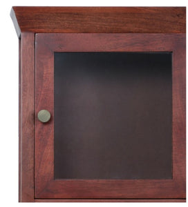 Crayton Mango wood Walnut finish 3 Compartment Glass Door Bathroom Cabinet