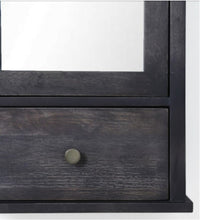 Load image into Gallery viewer, Crayton Mango wood Black Finish 3 Compartment with Mirror Door and Drawer Bathroom Cabinet