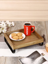 Load image into Gallery viewer, Crayton Mango Wood Large Serving Tray with Bottom Metal Handle