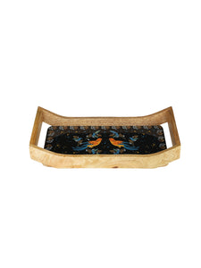 Crayton Birds Rectangular Mango Wood Small Serving Tray