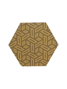 Crayton Hexagon Black and Yellow MDF Coaster