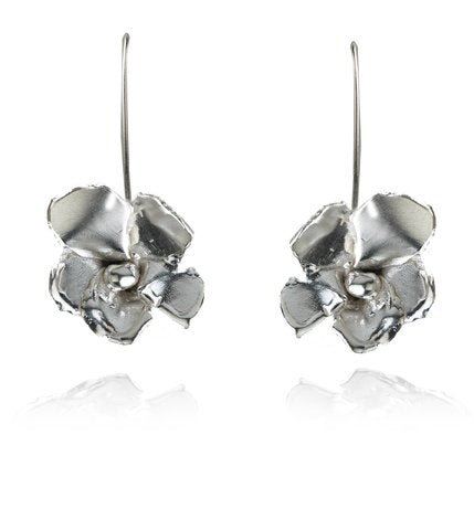 """Bloom"" Drop Earrings - Silver"