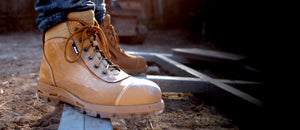 "Redback Cobar ""Safety"" Lace Up and Zip Boots Wheat"