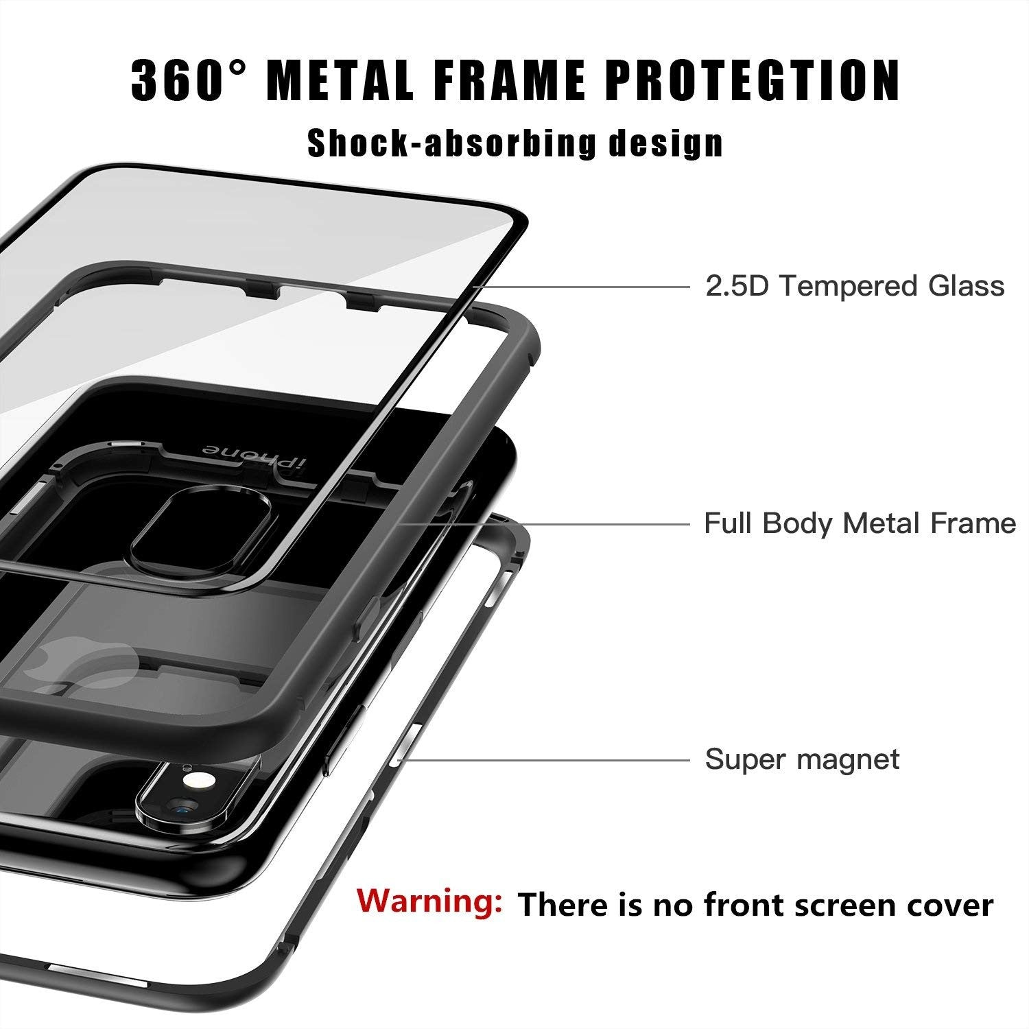 984ca9f55c2 ... iPhone X Case, Magnetic Adsorption Case Ultra Slim Metal Frame Tempered  Glass with Built- ...