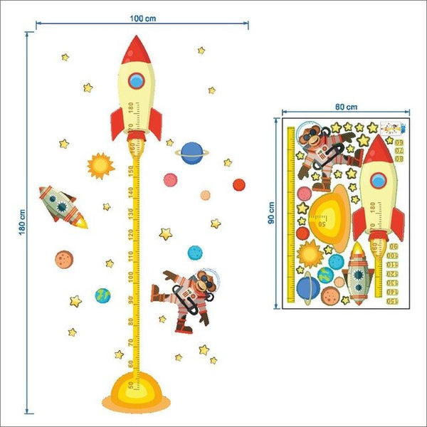 Growth Chart Children Cartoon Rocket
