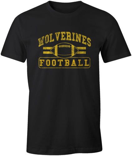 Wolverine Football Distressed Print T-Shirt