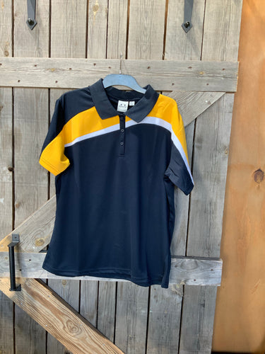 Biz collection ladies navy and yellow polo