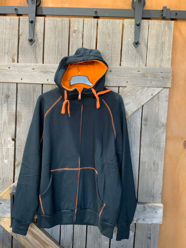 Grace collection zipped hoodie black and orange