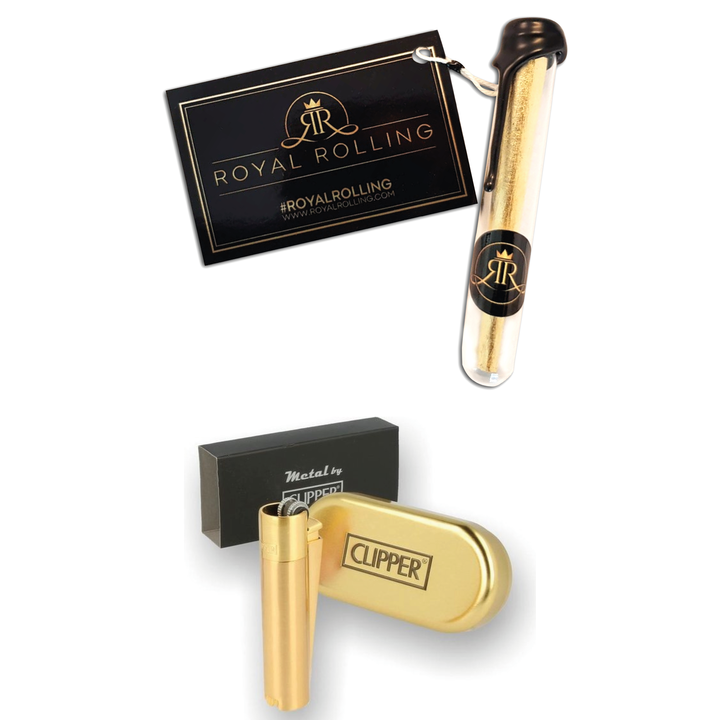 Royal Rolling Gift Package | Double Deluxe | 24K Gold Cone | Gold Clipper