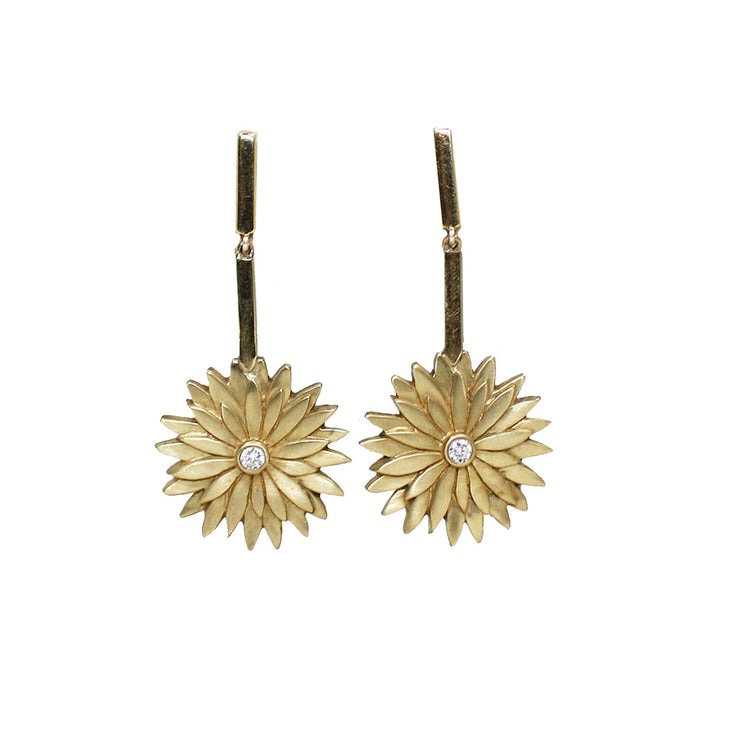 Ellie Thompson Gold Diamond Floral Earrings | Field Museum Store