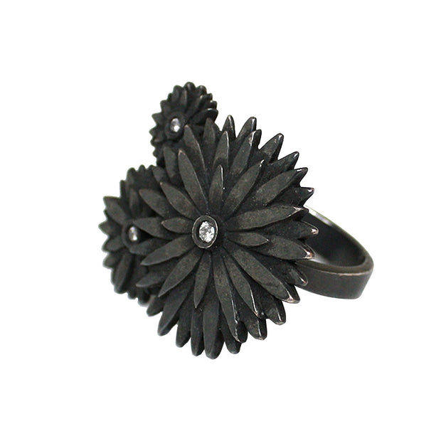 Ellie Thompson Sterling Silver Diamond Triple Flower Ring | Field Museum Store