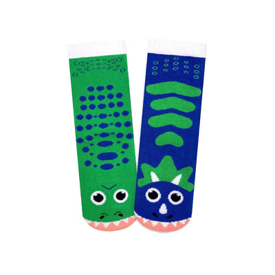 T. rex & Triceratops Mismatched Youth Socks | Field Museum Store