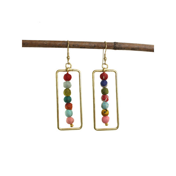 Framed Kantha Earrings | Field Museum Store