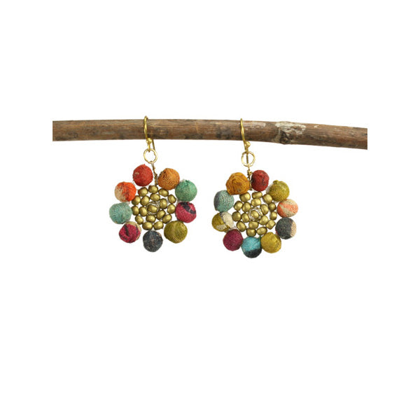 Kantha Sunflower Earrings | Field Museum Store