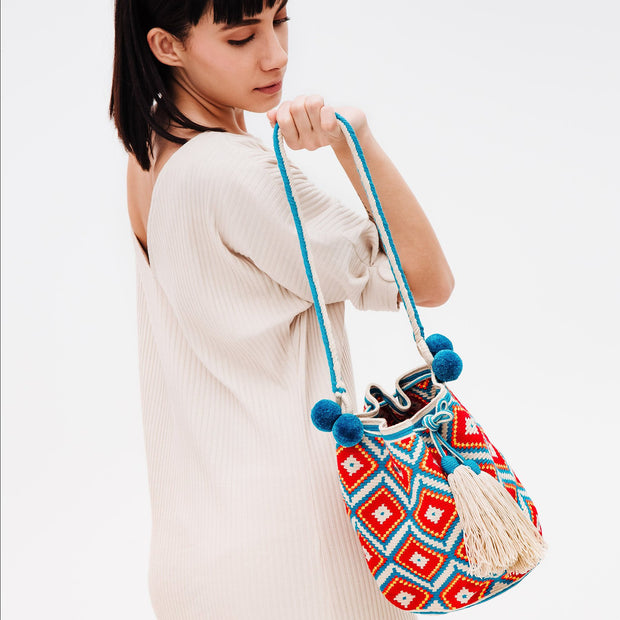 Blue/Orange Wayuu Tote Bag with Pompons | Field Museum Store