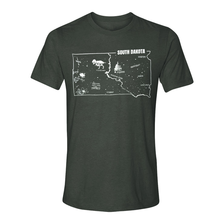 SUE the T. rex South Dakota Map Adult T-shirt | Field Museum Store